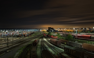 railway station, gleise, lower saxony, wagon, train, traffic, night, lights