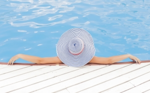 swimming pool, relaxation, spa, luxury, hat, tropical, woman, vacation, resort, holiday, water, blue, summer, paradise