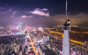 shenzhen shi, china, city, night, lights, skyscrapes, people, boy and girl