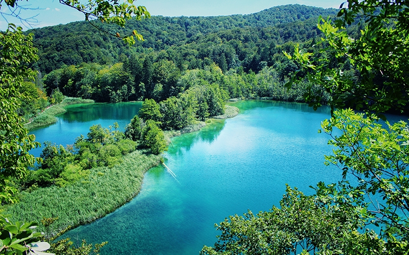 lake, paradise, croatia, plitvice, landscape, blue, green, nature, sky, summer, travel, resort, vacation, relax