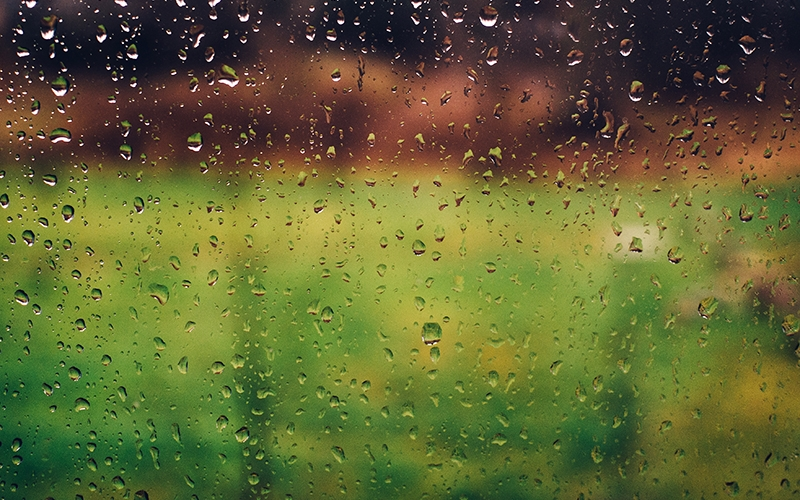 water, glass, raindrops, window, blur