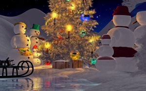 christmas eve, christmas tree, snowmans, winter, xmas, snow