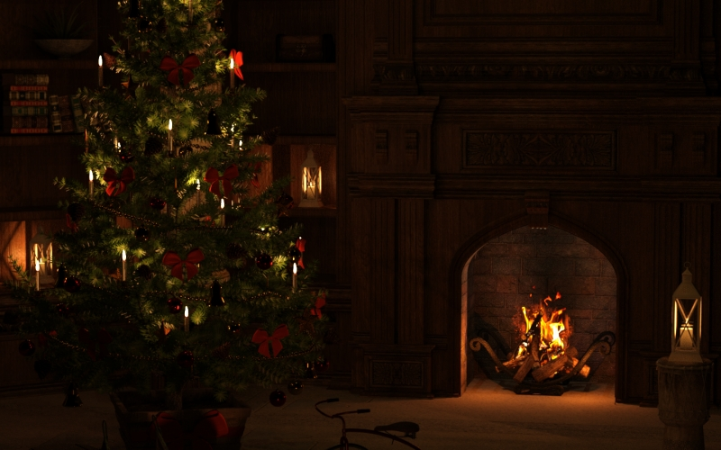 christmas tree, eve, atmosphere, december, fir, presents, evening, candlelight, fireplace