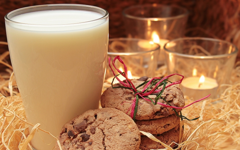 milk, glass, cookies, candles, drink, christmas, xmas, advent