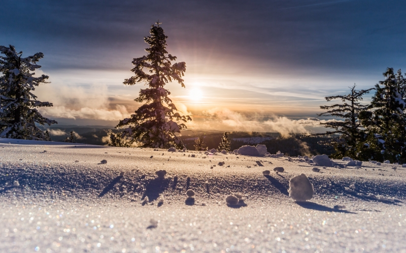 frosty, sunset, winter, landscape, mountains, snow, view, nature