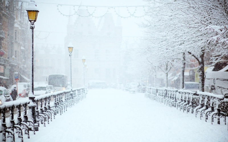 winter, snow, city, street, lights, daytime