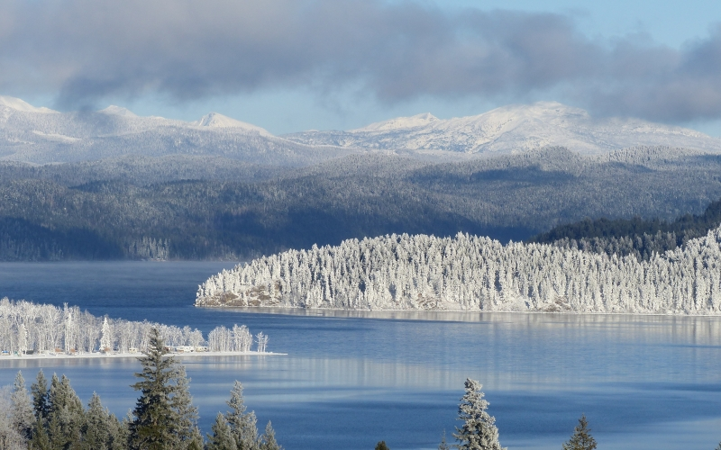 winter, season, snow, ice, frosty, landscape, lake, water, mountain, nature, december, sky, cloudy