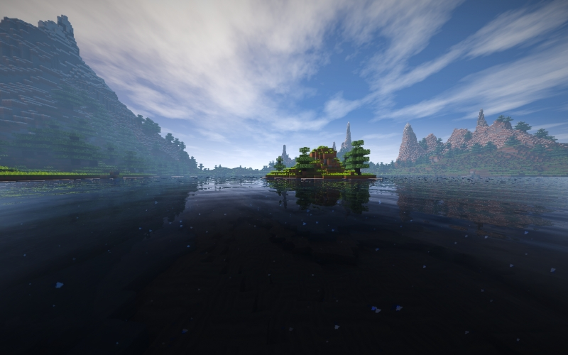 minecraft, landscape, water, mountain, nature, blue, sky, video games, shaders, 3d graphics, Minecraft