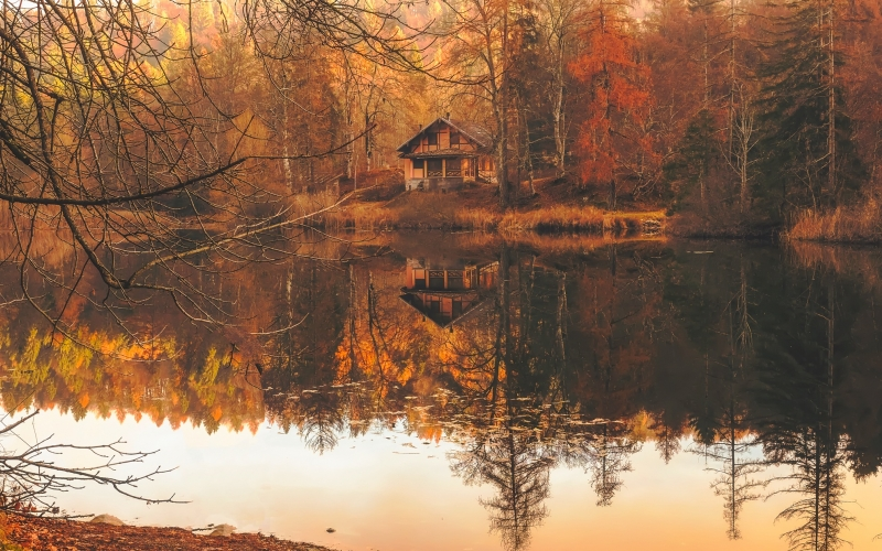 autumn, fall, cottage, house, home, cabin, lake, water, reflections, nature, outdoors, forest, trees, woods, country