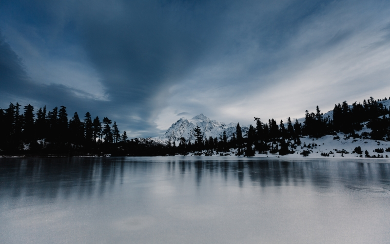 clouds, cold, lake, landscape, mountains, nature, scenic, sky, snow, trees, water, winter, ice