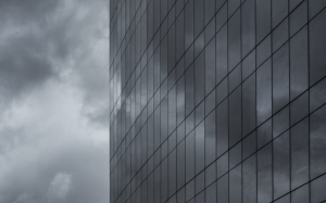 black and white, buiding, clouds, monochrome, skyscraper, window, building, architecture