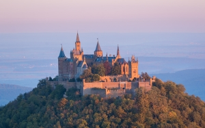 castle, sunrise, fortress, morgenstimmung, hohenzollern castle, germany, mountain, architecture, history