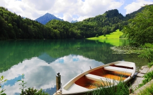 alatsee, rowing boat, summer, lake, forest, river, mountains, landscape, trees