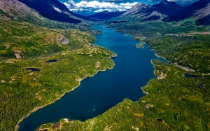 alaska, river, water, aerial view, mountains, landscape, sky, clouds, valley, nature, outdoors, wilderness, forest