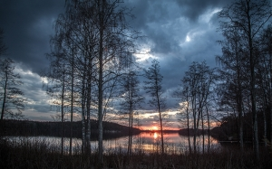 lake, finland, spring, evening, landscape, forest, water, nature, wood, dark, clouds, outdoors, rural