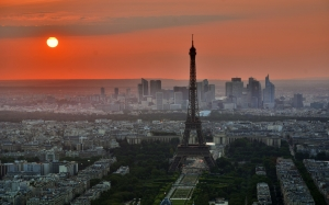 paris, france, french, eiffel tower, city, urban, europe, sun, sunset, summer, spring, architecture, sky, cityscape, landscape