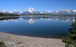 jackson lake, grand teton, national park, wyoming, water, reflections, blue, sky, nature, shoreline, mountains, forest, summer, spring,