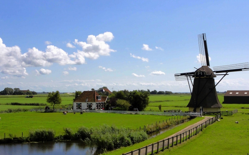 netherlands, landscape, sky, clouds, windmill, house, barn, home, pond, summer, spring, farm, rural, nature, countryside