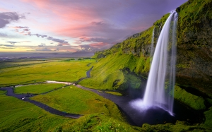 iceland, waterfall, nature, landscape, rocks, mountains, valley, sunset, sky, breathtaking view, seljalandsfoss