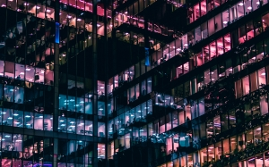 windows, city, building, offices, night, skyscraper, evening, architecture, lights