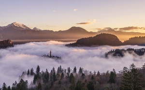 foggy, forest, landscape, misty, mountains, nature, panorama, panoramic, valley, castle
