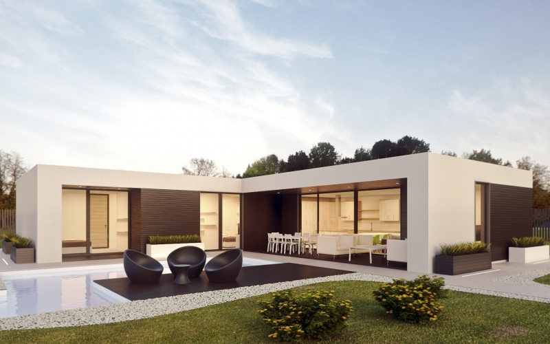 architecture, render, design, 3d, 3d max, pool, modular home, house, prefabricated house, 3d graphics, architectural rendering