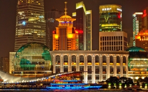 shanghai, skyline, architecture, skyscrapers, city, lights, night, evening