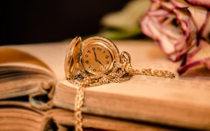 clock, pocket watch, time, clock face, golden, chain, old books, open books, dried rose, past