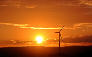 sunrise, sun, pinwheel, sky, morning, horizon, orange, nature, wind energy, wind power, renewable energy, wind turbine