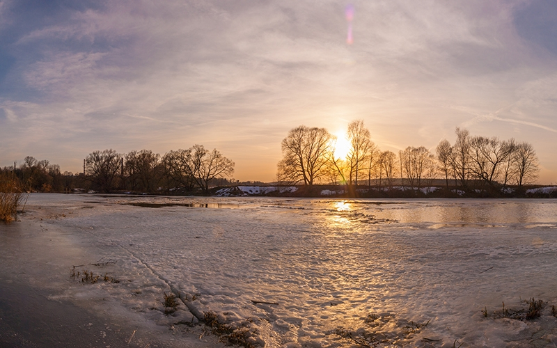 sunset, panorama, spring, river, ice, nature, landscape