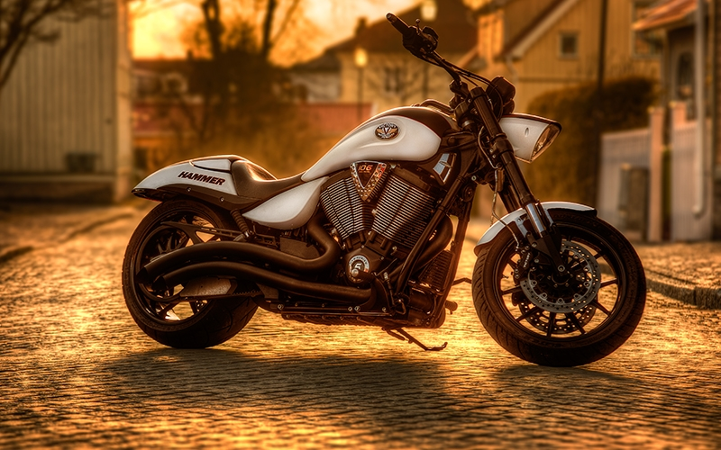 motorbike, motorcycle, pavement, vehicle, sunset, hammer