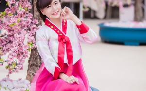 cherry blossom, flower, spring, woman, young, girl, beautifu, vietnam, costume, smile