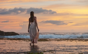 attractive, beach, beautiful, dawn, dusk, lady, leisure, lovely, ocean, people, person, relaxation, sand, sea, seashore, sunrise, sunset, travel, vacation,