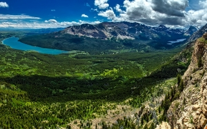 glacier national park, montana, panorama, mountains, valley, forest, trees, woods, landscape, scenic, river, nature, wilderness