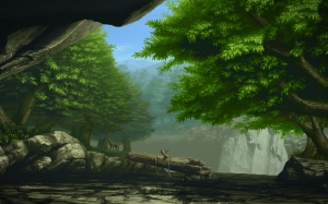 pixel art, nature, computer graphic, art, painting