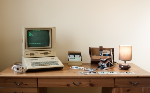 Apple IIe, DuoDisk, Apple Monitor II, retro computer, old computer, desk, camera, room, lamp