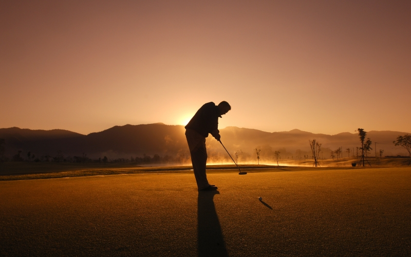 golf, game, play, man, sunset, kick, silhouette, chiang mai, sport