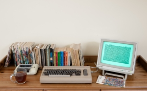 old computer, retro computer, desk, room, books, commodore 64, datasette tape drive, commodore dm602 display, monitor80, easy script word processor