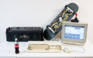 old computer, retro computer, desk, room, tape recorder, skateboard, commodore amiga 1200, commodore 1802 display, amiga mouse, competition pro joystick, hitachi, super wo