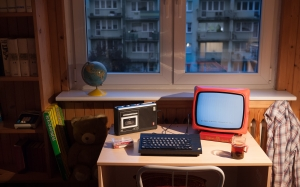 old computer, retro computer, desk, room, evening, window, zx spectrum, unitra vela 203 portable tv, unitra tape recorder, grundig
