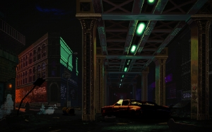 pixel art, pixel graphics, city, slums, street, night