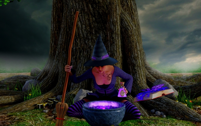witch, cauldron, magic book, magic potion, mysticism, magic, fantasy, halloween, fairy tale