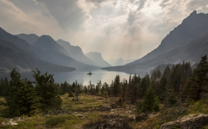 landscape, panorama, scenic, clouds, lake, mountains, trees, wild goose island, glacier national park, montana, wilderness, forest