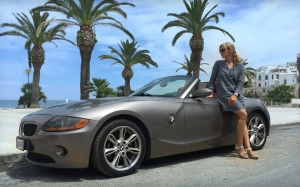 sports car, convertible, woman, female, beach, palm trees, vacation, tropical, bmw, model, automobile, travel, journey, vehicle, seashore, ocean, seaside
