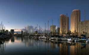 seascape, honolulu, hawaii, ala wai, harbor, water, ships, boats, buildings, city, vacation, sea, sunset, dusk, evening