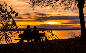 sunset, couple, lake constance, abendstimmung, bicycles, lake, sky, romantic, clouds, orange, landscape, autumn, pair, bank, people, together