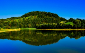 landscape, scenic, hills, forest, trees, woods, nature, outdoors, lake, water, reflections, fall, autumn, country, rural