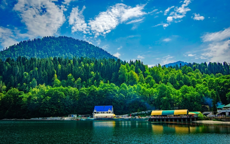 landscape, scenic, sky, clouds, mountains, resort, shoreline, dock, vacation, summer, forest, trees, woods, nature, lake, water, reflections,