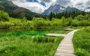 mountains, lake, nature, landscape, trees, blue, triglav national park, clouds, water, emerald green, sky