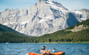 kayak, mountain, lake, forest, adventure, nature, water, landscape, man